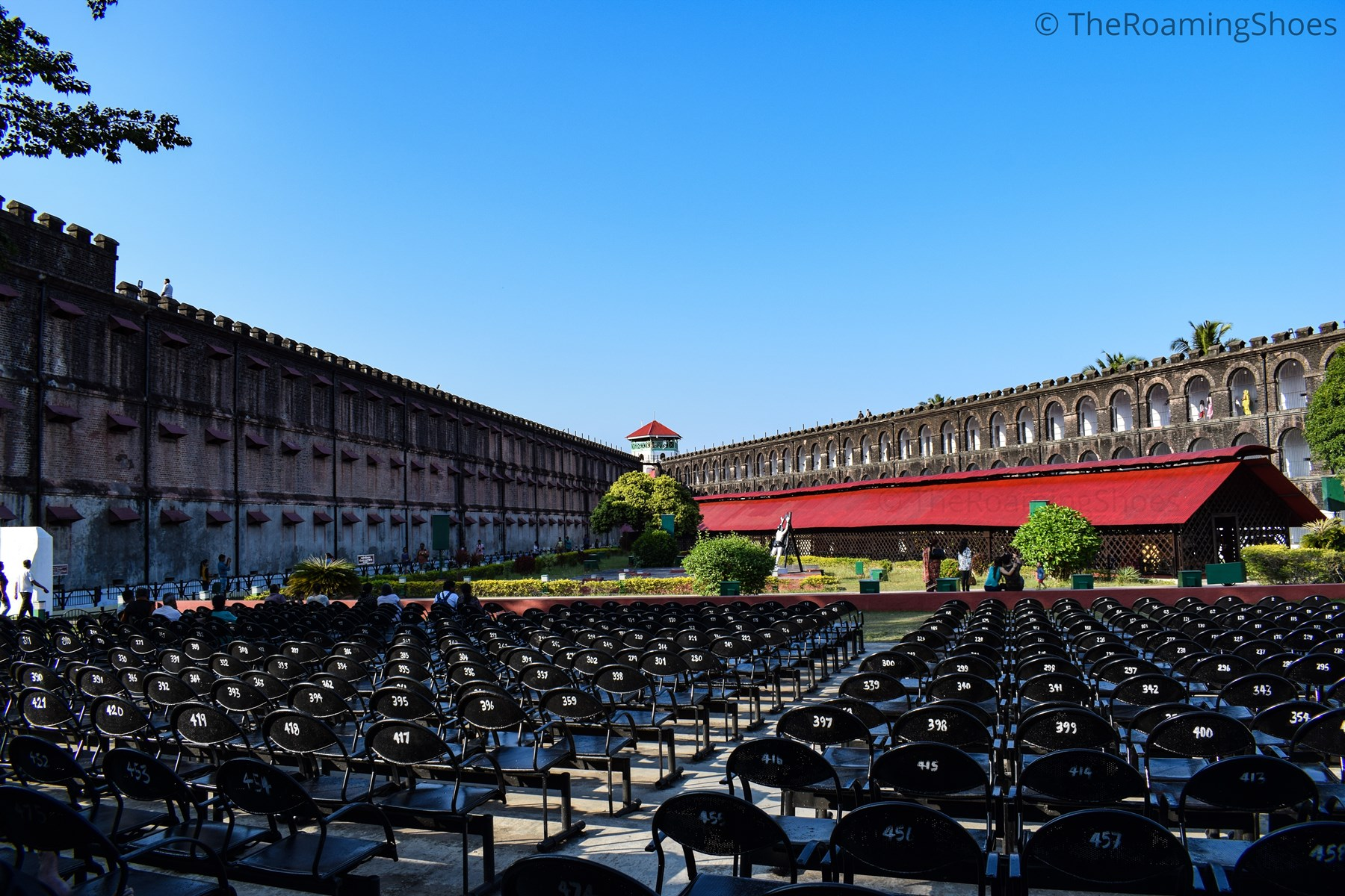 Sitting arrangement for light and sound show in cellular jail