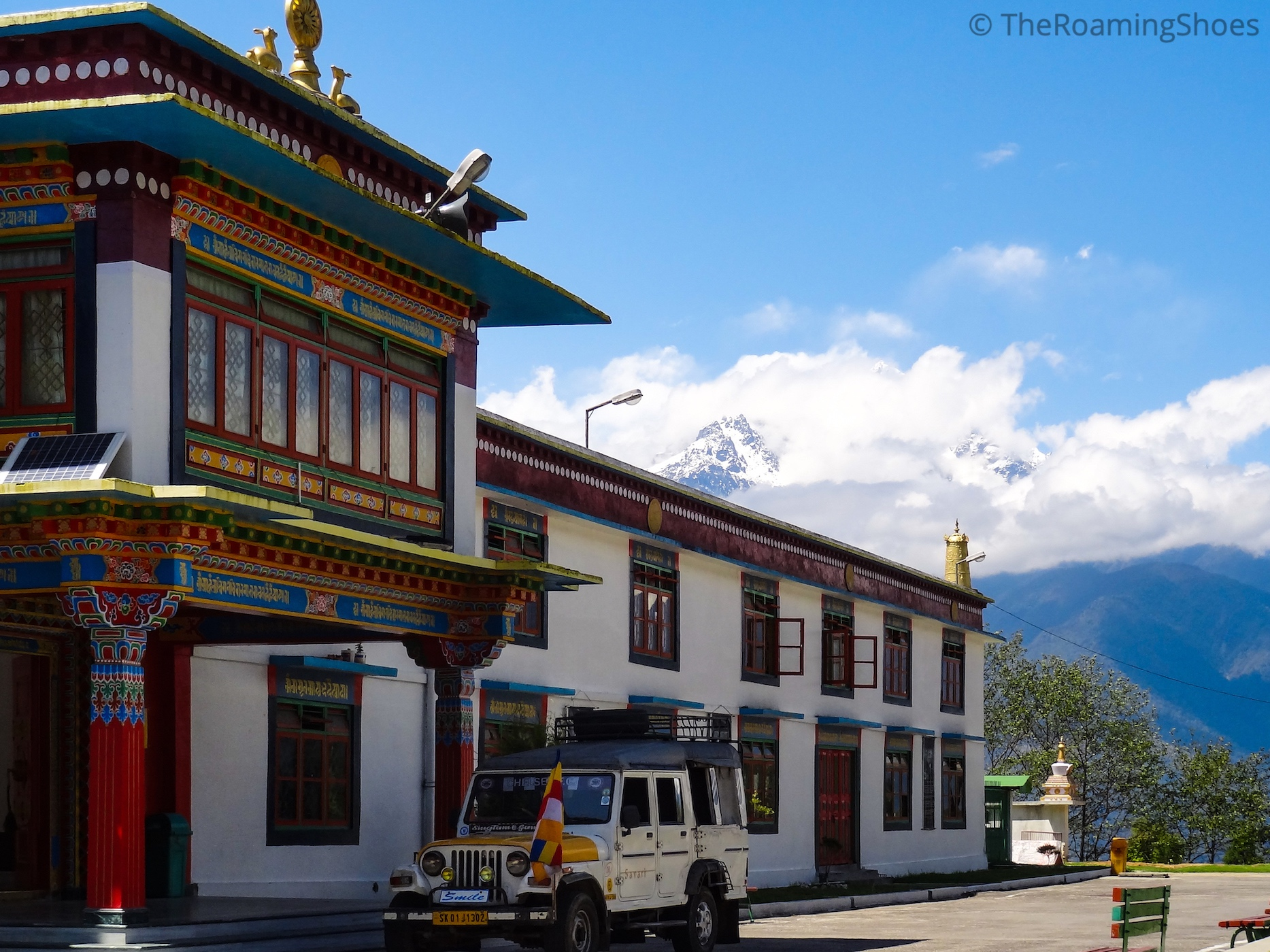 Side view of monastery with Kanchenjunga