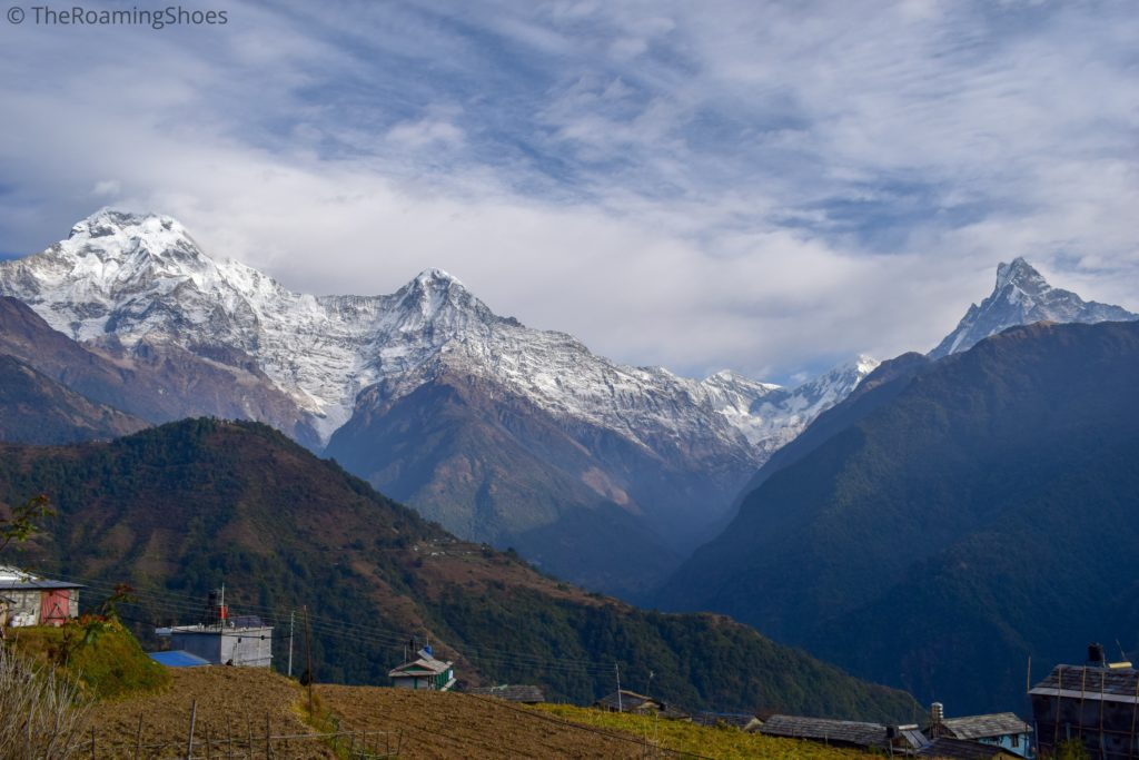 Annapurna South, Himchuli and Fishtail mountain peaks